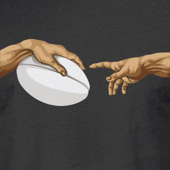 """Rugby """"Die Erschaffung Adams"""" Michelangelos Hand T-Shirt"""