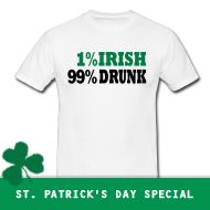 1% Irish, 99% Drunk | St. Patricks Day T-Shirts, Hoodies, Green Shirts